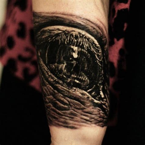 disgusting tattoos disgusting black and gray eye on arm by cris