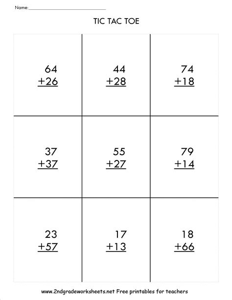Digit Addition Worksheets by Two Digit Addition With Regrouping Tic Tac Toe