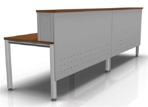 Metal Reception Desk Vital Reception Desk Composition 4 Silver Steel Reality