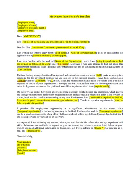 Motivation Letter Exle For Application Sle Application 7 Exles In Word Pdf