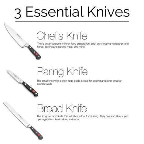 essential kitchen knives three must kitchen knives