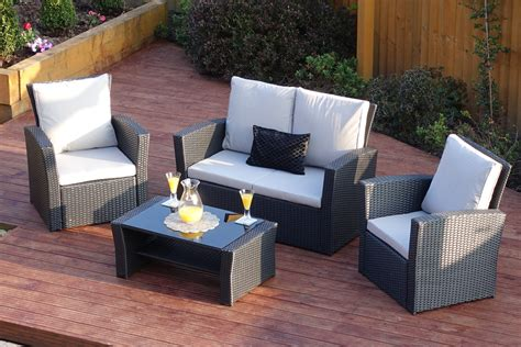 4 piece ottoman set 4 piece black algarve rattan sofa set for patios