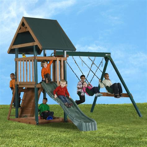 childrens wooden swings and slides wood playset with swings sandbox slide mongoose manor