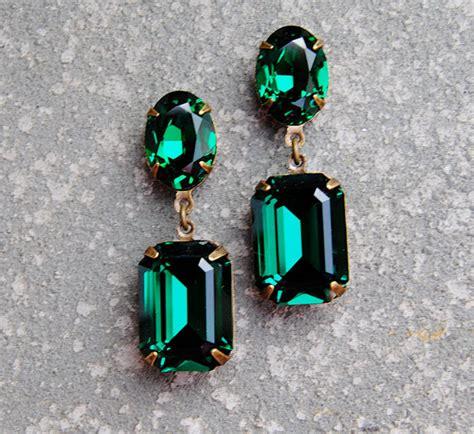 emerald green earrings swarovski post dangle by