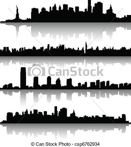 stock photo company 새로운 요크 도시 실루엣 와 지평선 csp6762934의 eps 벡터 클립아트