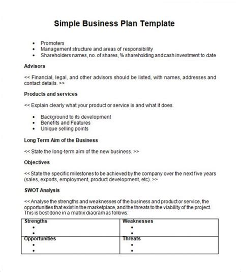 Simple Basic Startup Small Business Plan Template Pdf Word Excel Buisness Plan Template
