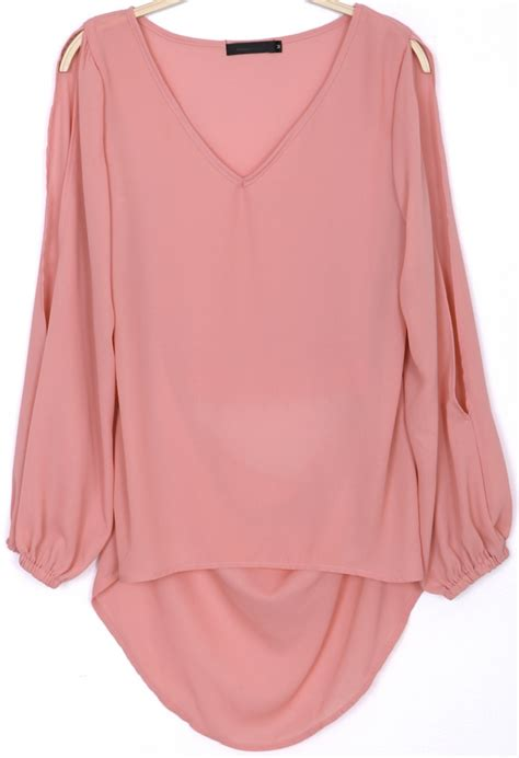 Blouse Pink pink split sleeve v neck embroidered chiffon blouse abaday