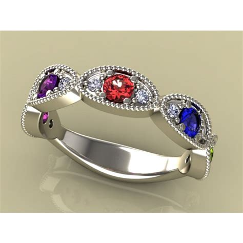 mothers birthstone rings 5 birthstone mothers ring by christopher michael with ideal cut diamonds