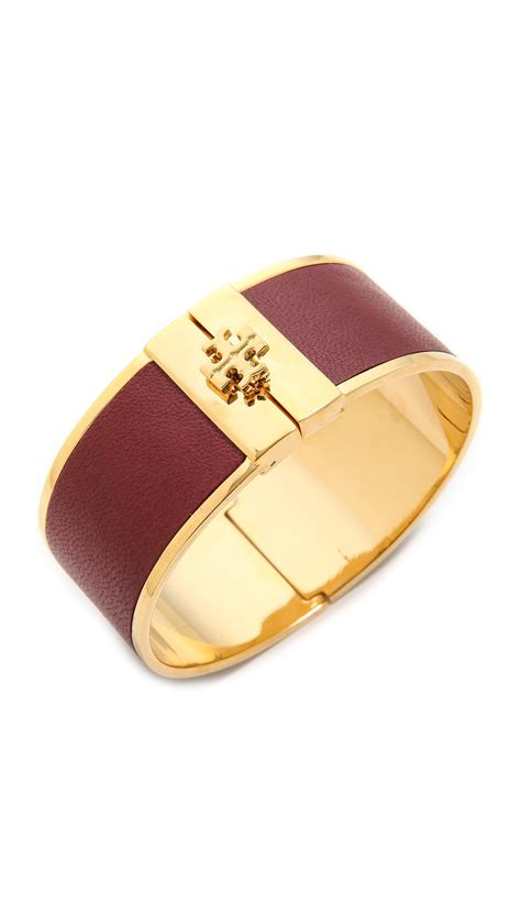 Tory burch Skinny Leather Inlay Cuff Bracelet Blackshiny Gold in Purple   Lyst