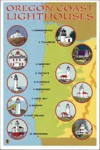 postcard oregon coast lighthouses map lantern press