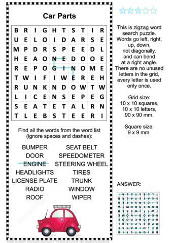 printable zigzag word search puzzles car parts word search puzzle free printable puzzle games