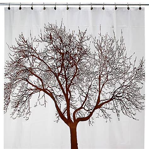 bed bath and beyond tree shower curtain buy brown tree 70 inch w x 72 inch l vinyl shower curtain