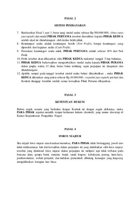 contoh surat perjanjian kerjasama