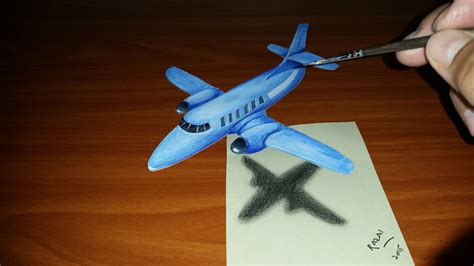 How To Make A 3d Paper Plane - speed drawing 3d illusion airplane on paper dessin 3d