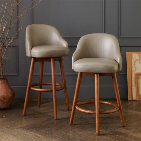Mid Century Wood Bar Stools by A Shapely Swivel Seat Inspired By Mid Century Design Our