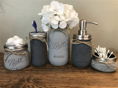 rustic home decor mason jar bathroom set by therusticthorn on etsy rustic bathroom decor mason jar bathroom set mason jar