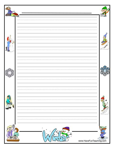 winter writing paper theme border writing paper teaching