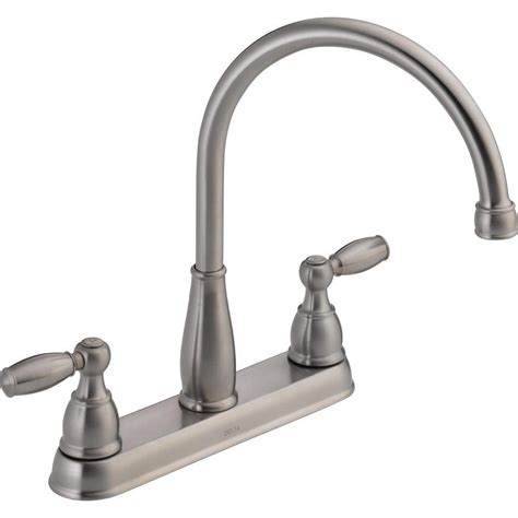stainless kitchen faucets delta foundations 2 handle standard kitchen faucet in stainless 21987lf ss the home depot