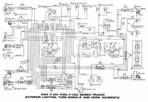 ford f 100 through f 750 trucks 1964 exterior lighting turn signals and horn wiring diagram