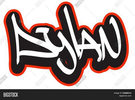 dylan graffiti font style name hip hop design template