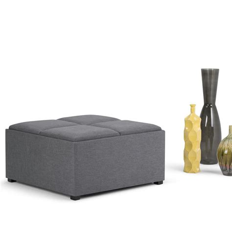 Gray Ottoman Simpli Home Avalon Slate Grey Storage Ottoman Ay F 07 Gl The Home Depot