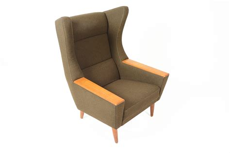 modern wingback danish modern wingback lounge chair in olive mid century