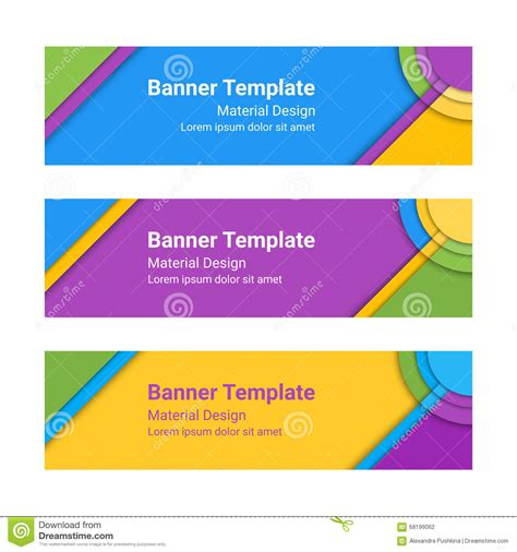 header card design template material design banners set of modern colorful horizontal