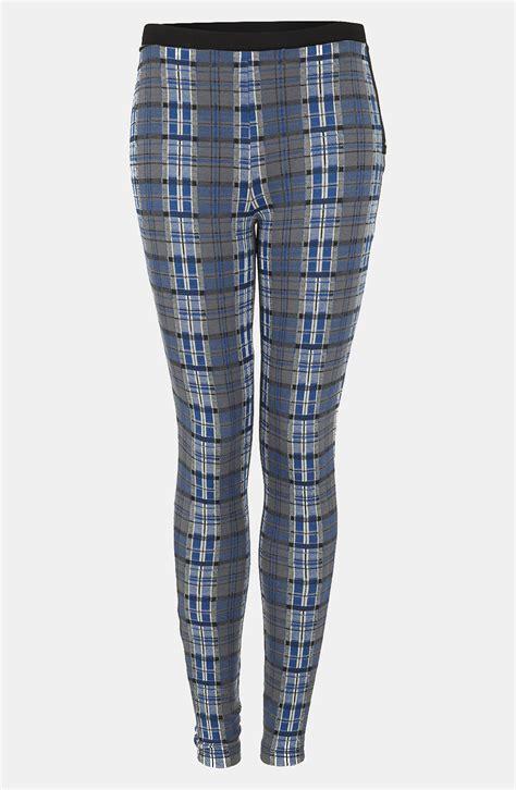 topshop patterned leggings topshop plaid leggings in blue lyst
