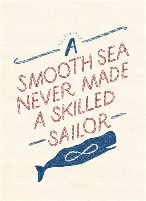 printable nautical quotes a smooth sea never made a skilled sailor typography