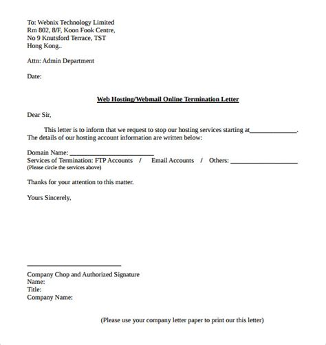cancellation work letter web hosting service termination letter template pdf format