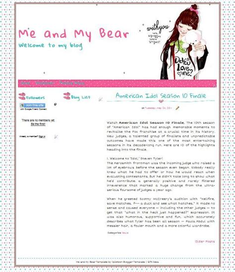 blogger themes diary me and my bear blogger template ipietoon cute blog design