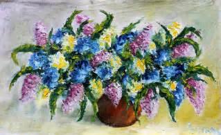 painting vase fresh flowers painting by valery rybakow