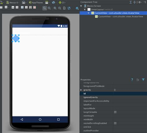 layout xml custom view why is android studio designer displaying my custom view