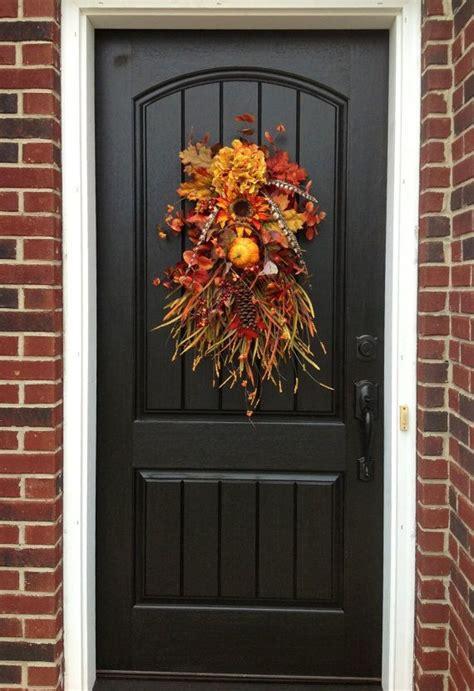 Swag Wreaths Front Door Fall Wreath Autumn Wreath Teardrop Vertical Door Swag Decor Autumn Wreaths Vertical Doors And