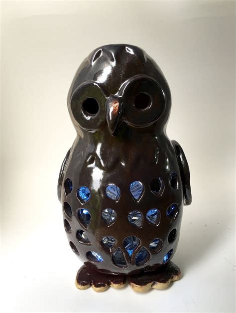 owl lover owl ceramic candle fairylight holder owl sculpture gift
