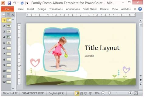 Family Photo Album Template For Powerpoint Photo Album Powerpoint Template