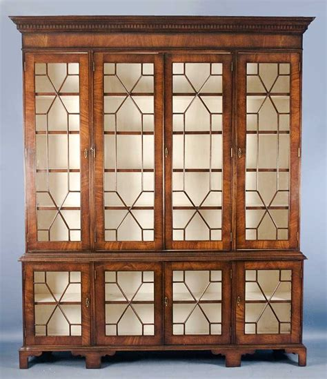 Antique Oak Bookcase With Glass Doors Antique Furniture Vintage Bookcase With Glass Doors