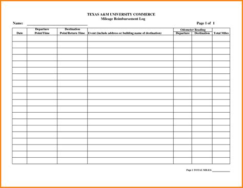 mileage form templates mileage