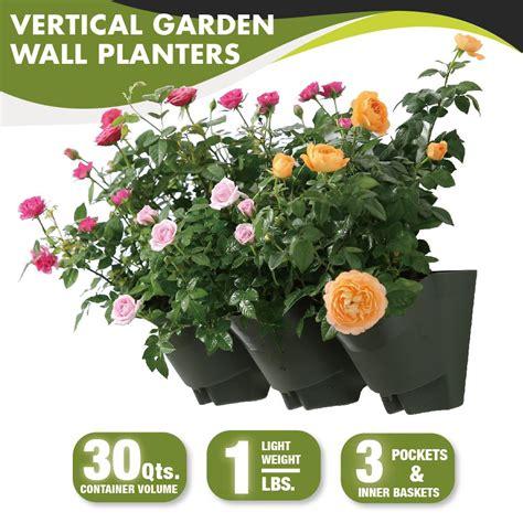 worth garden 18 in self watering 3 pockets vertical wall