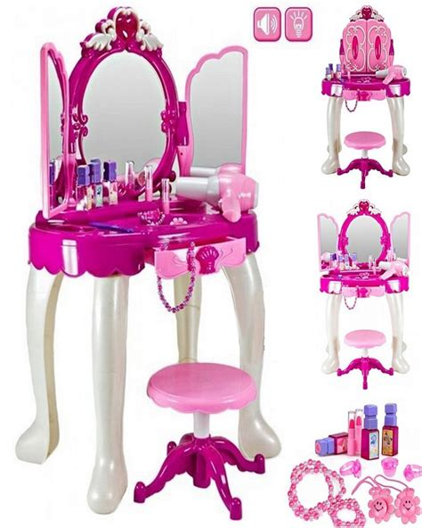 Funky buys girls glamour mirror makeup dressing table toy set