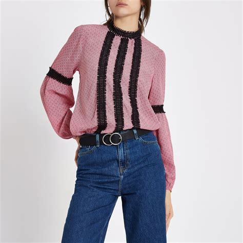 pink tile lace trim high neck blouse blouses tops