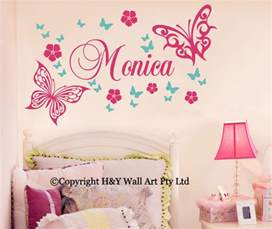 Wall Stickers For Baby Boy Nursery butterfly flowers custom personalised name wall stickers