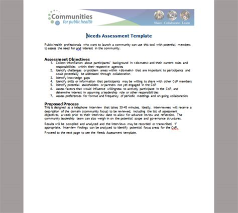needs assessment template sle needs assessment template
