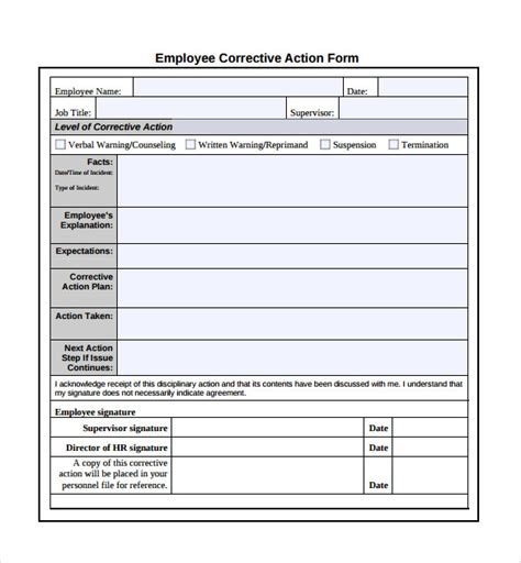 corrective form template sle corrective plan template 12 documents in