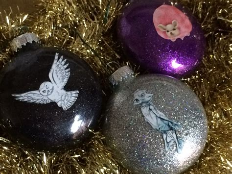 harry potter glitter ornaments chica and jo