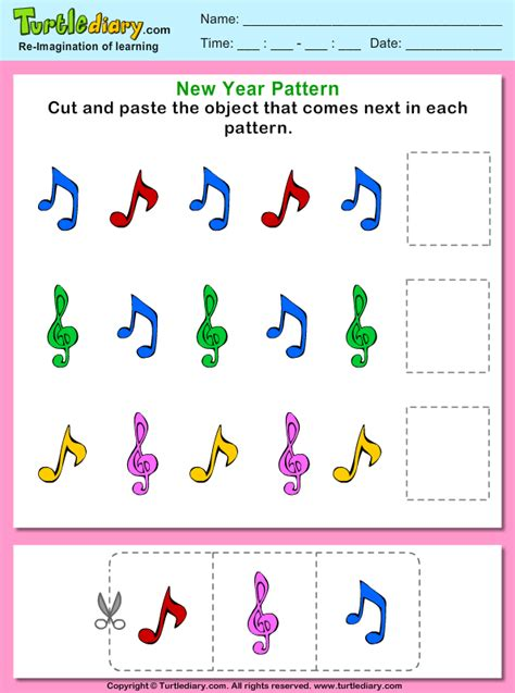 music pattern activities cut and paste the music pattern that comes next worksheet