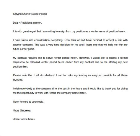Notice Resignation Letter With Buyout 18 Notice Period Letter Templates Free Sle Exle
