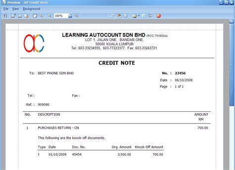 Format Of Credit Note For Discount A P Credit Note Entry