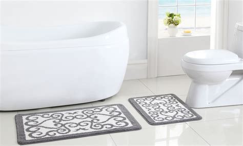 oversized bathroom rugs oversized plush bath rug 2 pk groupon goods