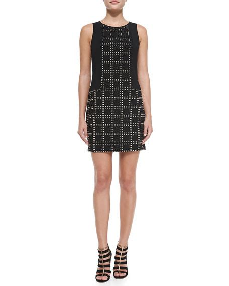 grid pattern dress trina turk blake studded grid pattern sheath dress